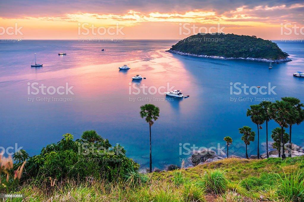 view on sunset sea stock photo