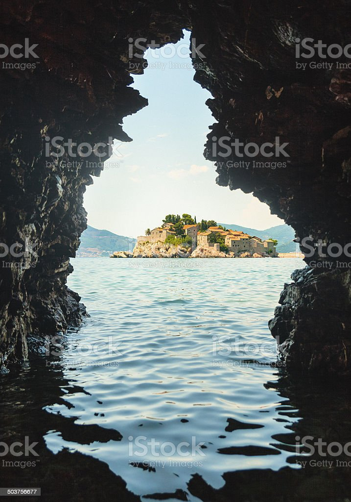 View on Sveti Stefan stock photo