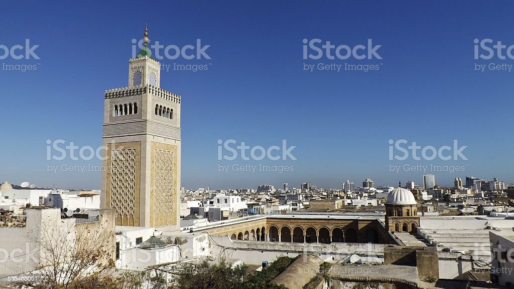 View on the Al-Zaytuna Mosque and the townscape of Tunis stock photo