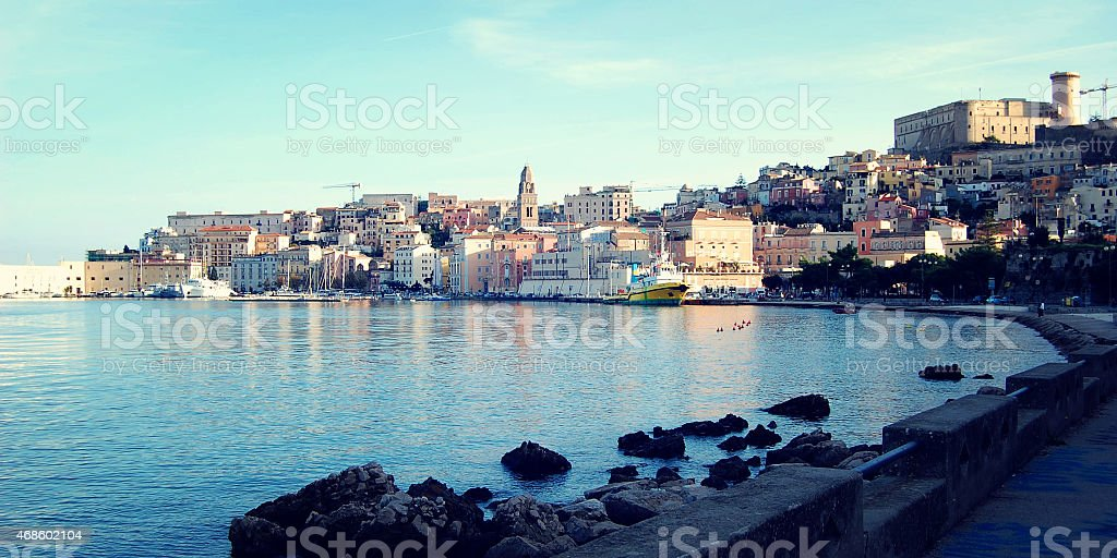 View on the Angevin-Aragonese Castle on the hill and buildings. stock photo