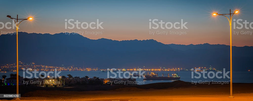 View on the Aqaba gulf at down stock photo
