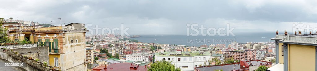 View on the bay of Naples, Dramatic sky stock photo