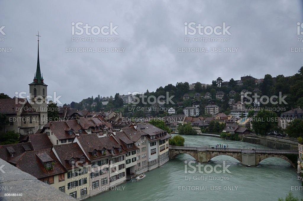 View on the Bern with Nydeggkirche cathedral stock photo