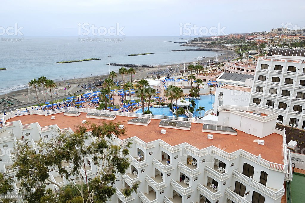 View on the building of luxury hotel, Tenerife island, Spain royalty-free stock photo