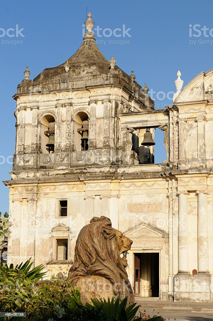 View on the cathedral in Leon city stock photo