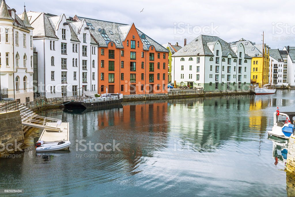 View on the center city of Alesund stock photo