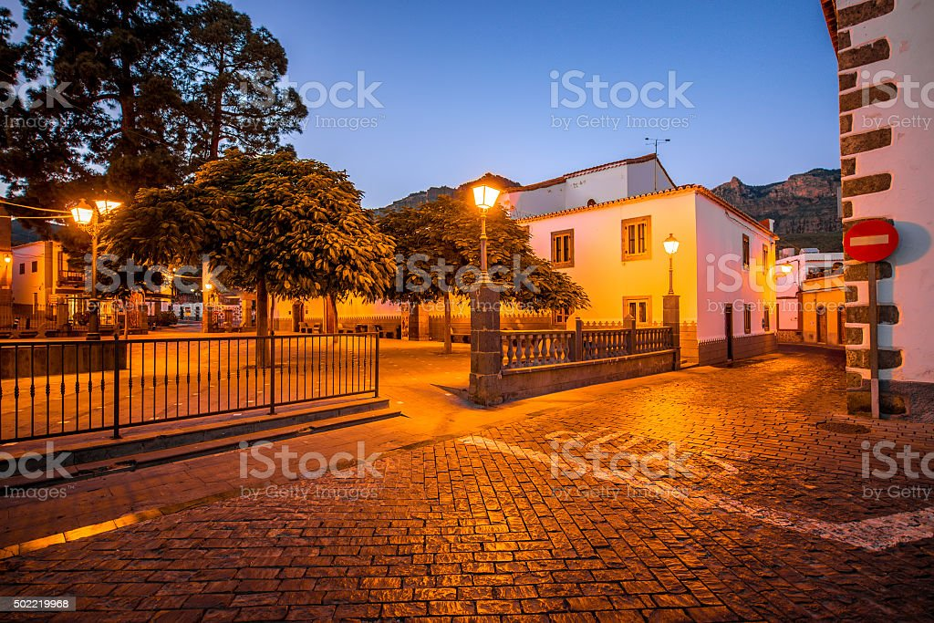 View on the central square in San Bartolome de Tirajana stock photo