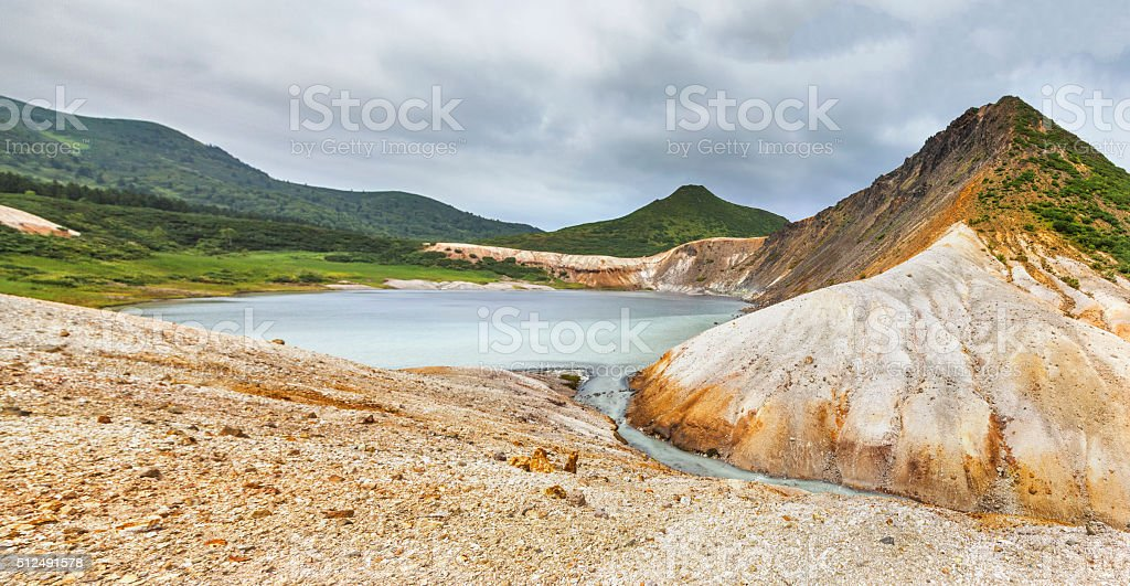 View on the chemical lake stock photo