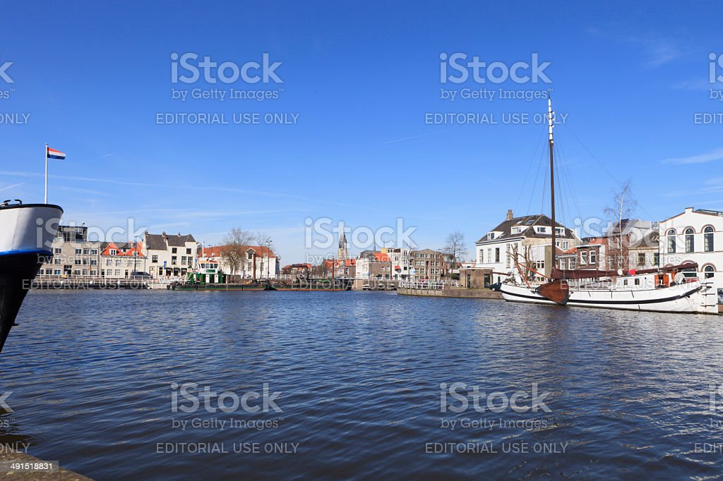 view on the Dutch village of Delft stock photo