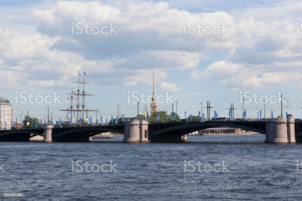 View on the Exchange Bridge from the Makarov Embankment in St. Petersburg stock photo