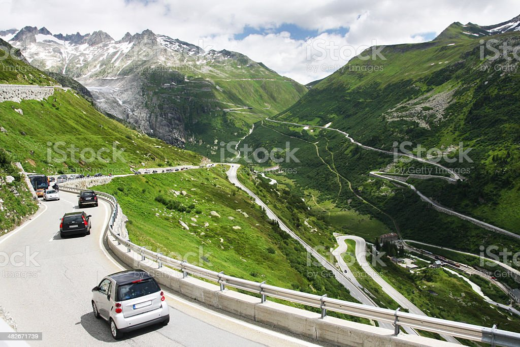 View on the Furkapass and streamers stock photo