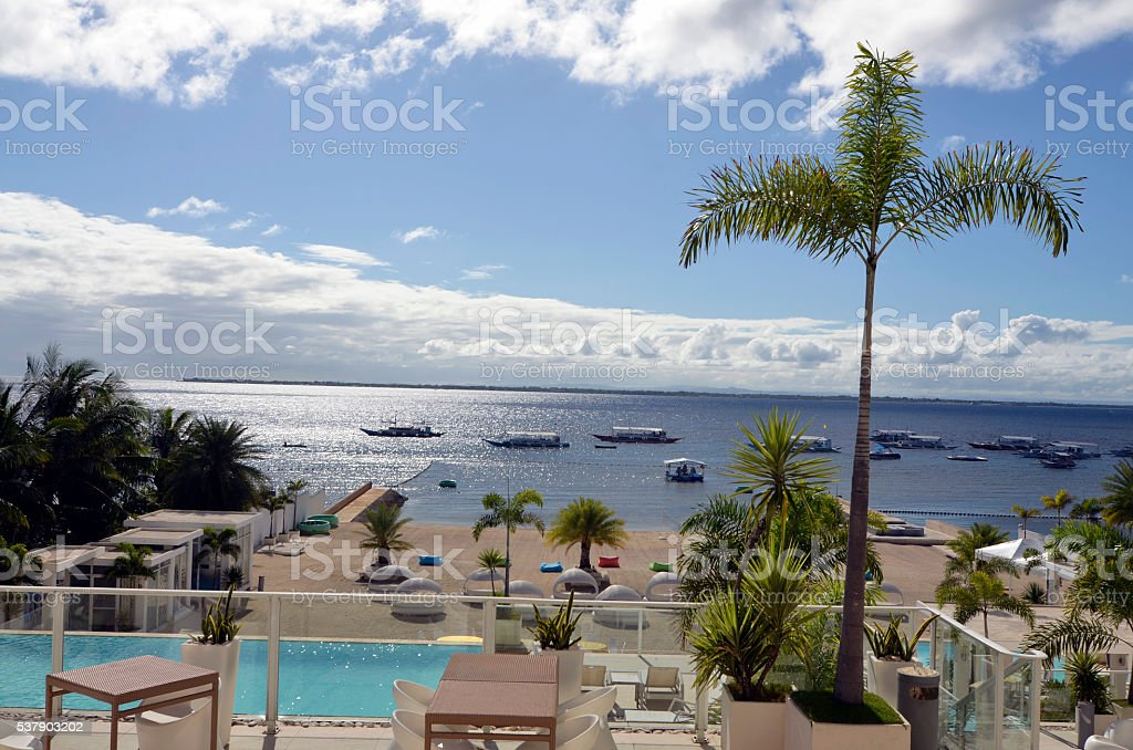 view on the hotel. stock photo