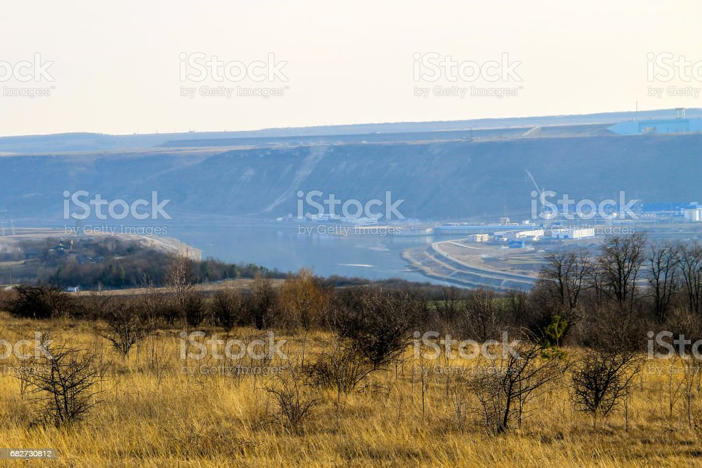 View on the Hydro power plant on the river Dniester stock photo