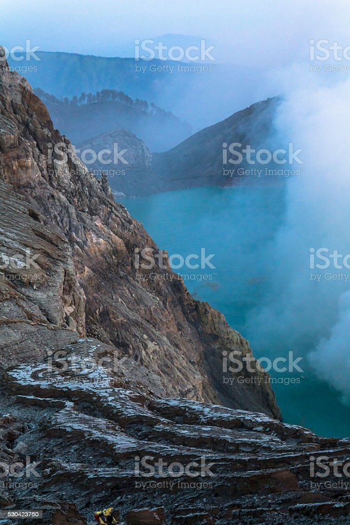 View on the Ijen volcano from above stock photo