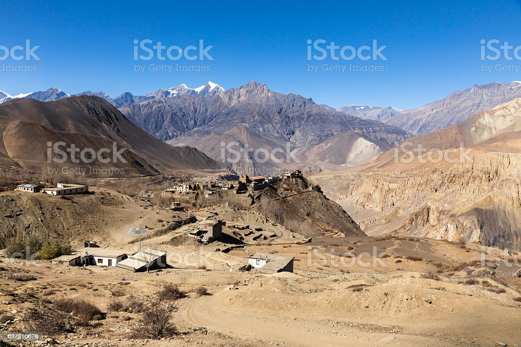 View on the Jharkot village, lower Mustang, Nepal stock photo