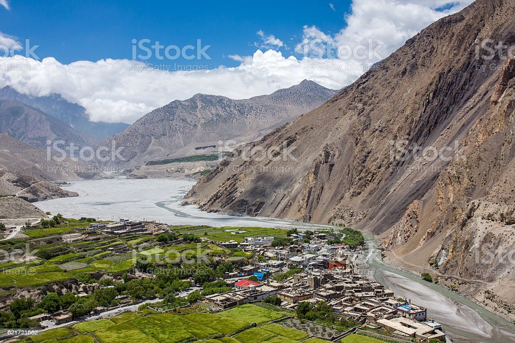 View on the Kagbeni village in the Himalayas, Nepal stock photo