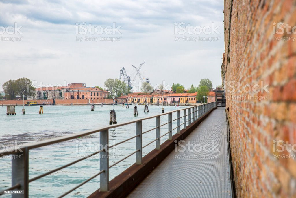 View on the lagoon of Venice from the Arsemale stock photo