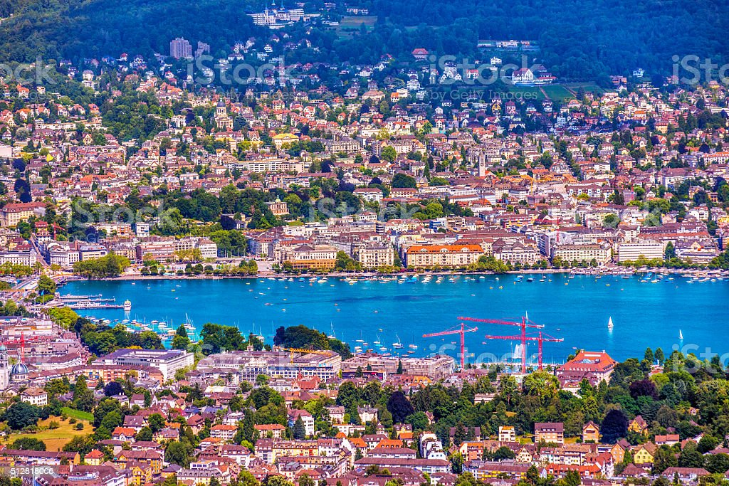 View on the Lake Zurich (Zürichsee) in summer stock photo