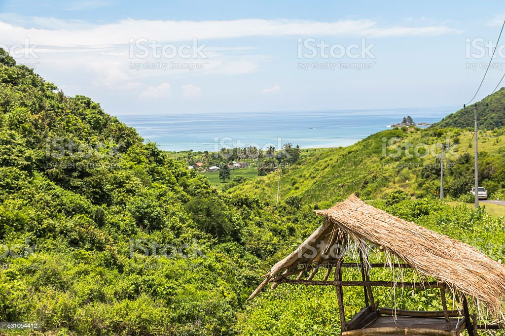 View on the landscape of Lombok stock photo