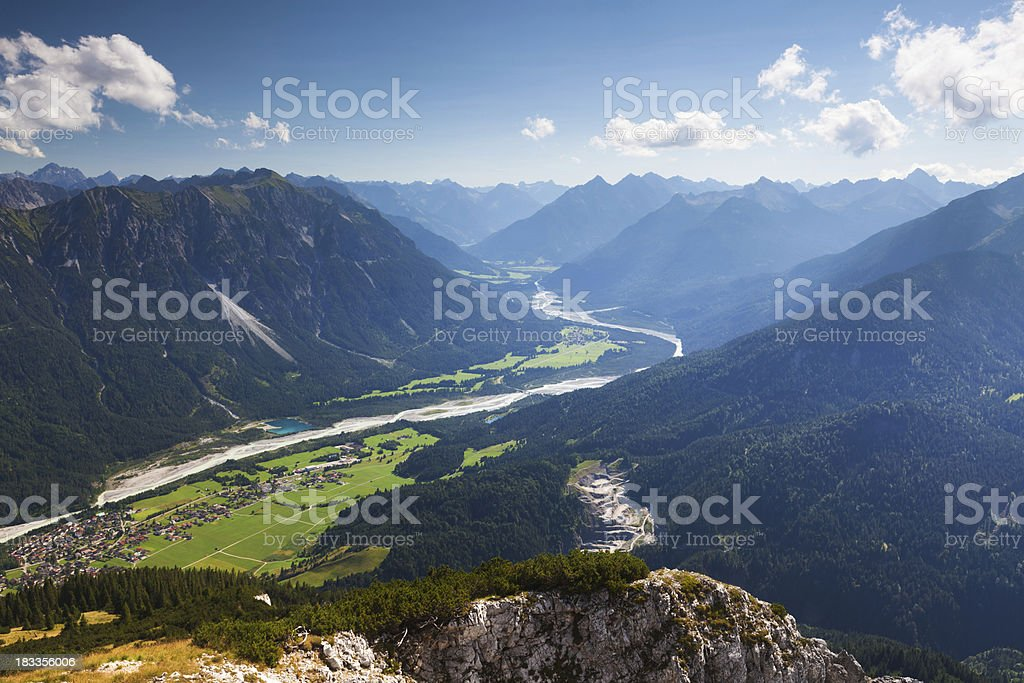 view on the lech river - lechtaler alps- tirol -austria stock photo