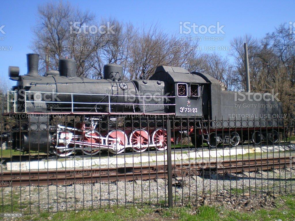 View on the locomotive soviet train Em-731-23 stock photo