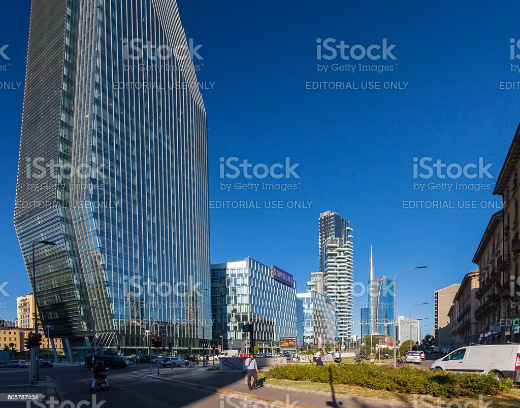 View on the Milan Porta Nuova business district stock photo