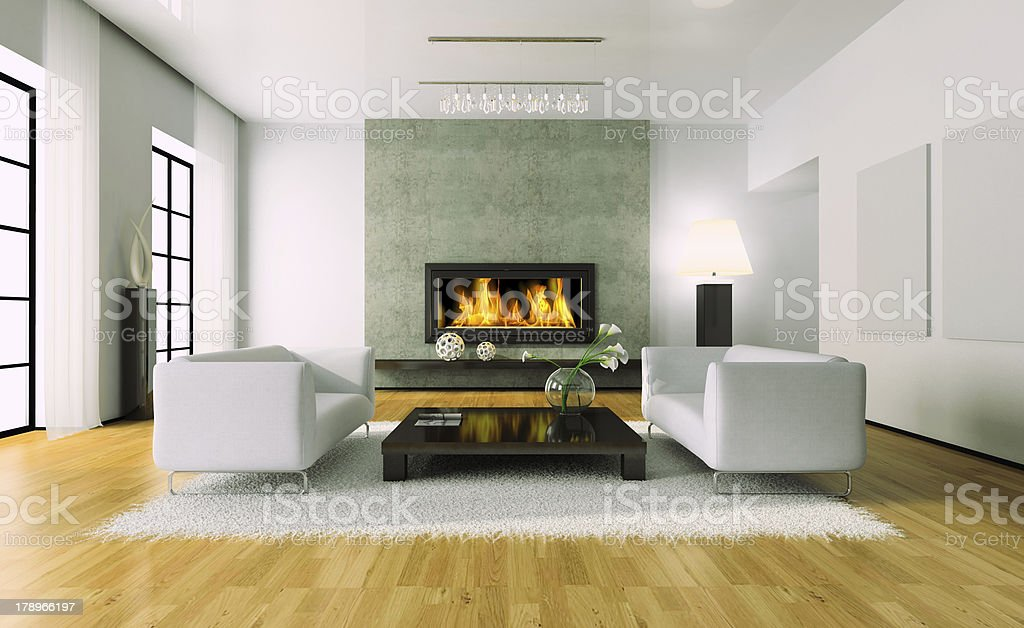 View on the modern interior with fireplace stock photo