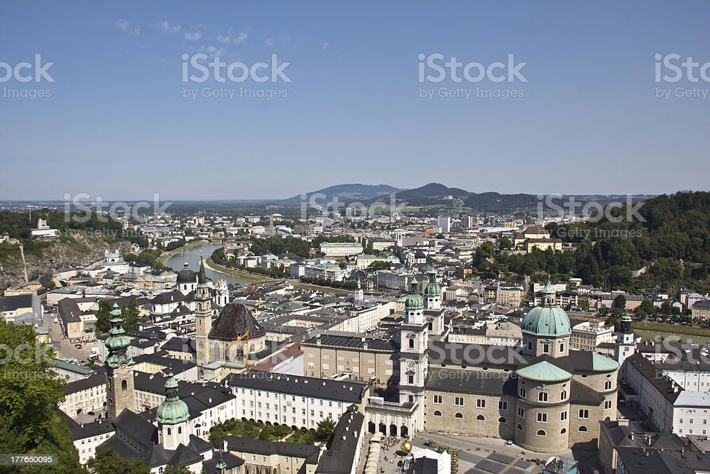 View On The Old City Of Salzburg From Fortress stock photo