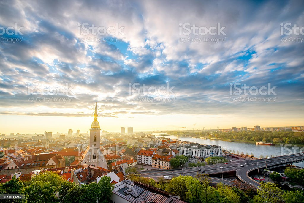 View on the old town in Bratislava stock photo