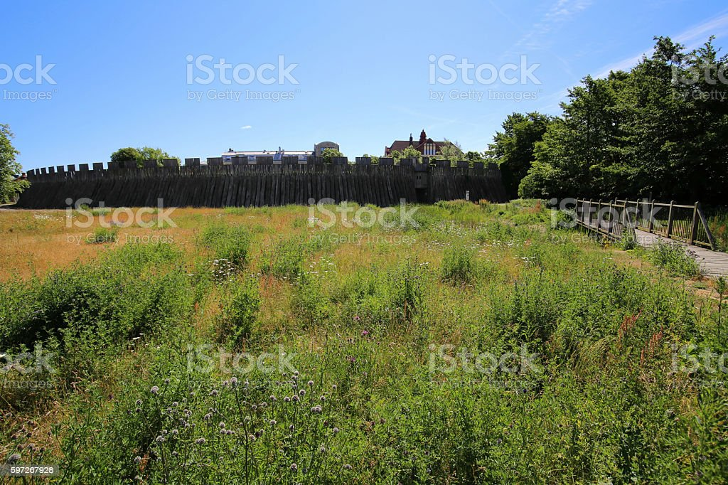View on the outside of the castle in Trelleborg, Sweden stock photo