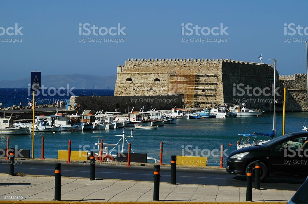 View on the port of Agios Nikolaos city stock photo