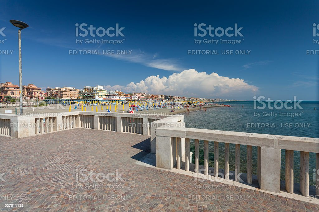 View on the private beach Battistini and the pier, Italy. stock photo