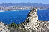 View on the Rock Sella del Diavolo in Cagliari.