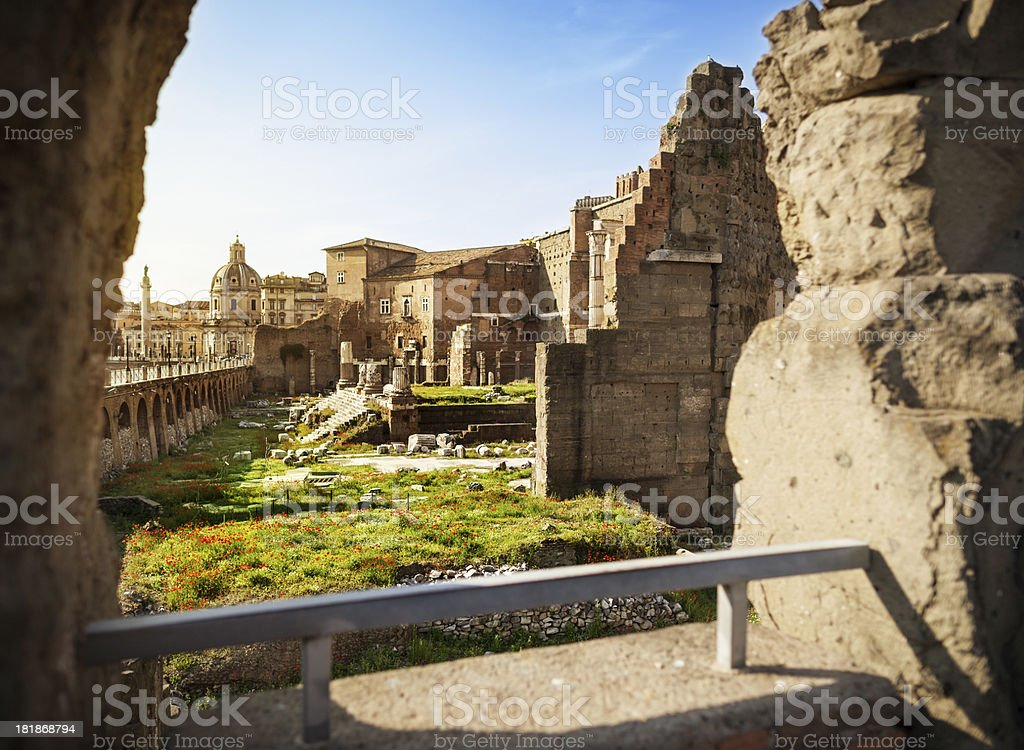 View on the Ruins of Trajan Roman Forum and Coliseum royalty-free stock photo