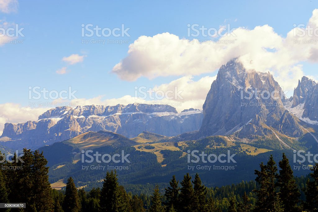 View on the Sassolungo and Sella group stock photo