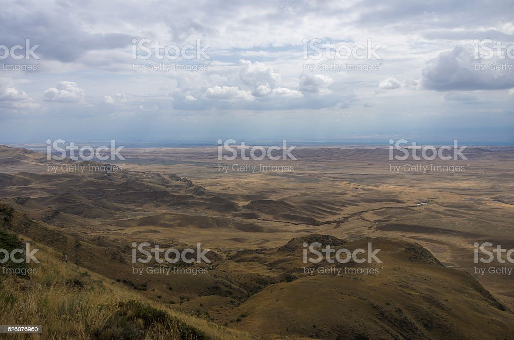 View on the semi-desert and steppe slopes of Gareja Mountain stock photo
