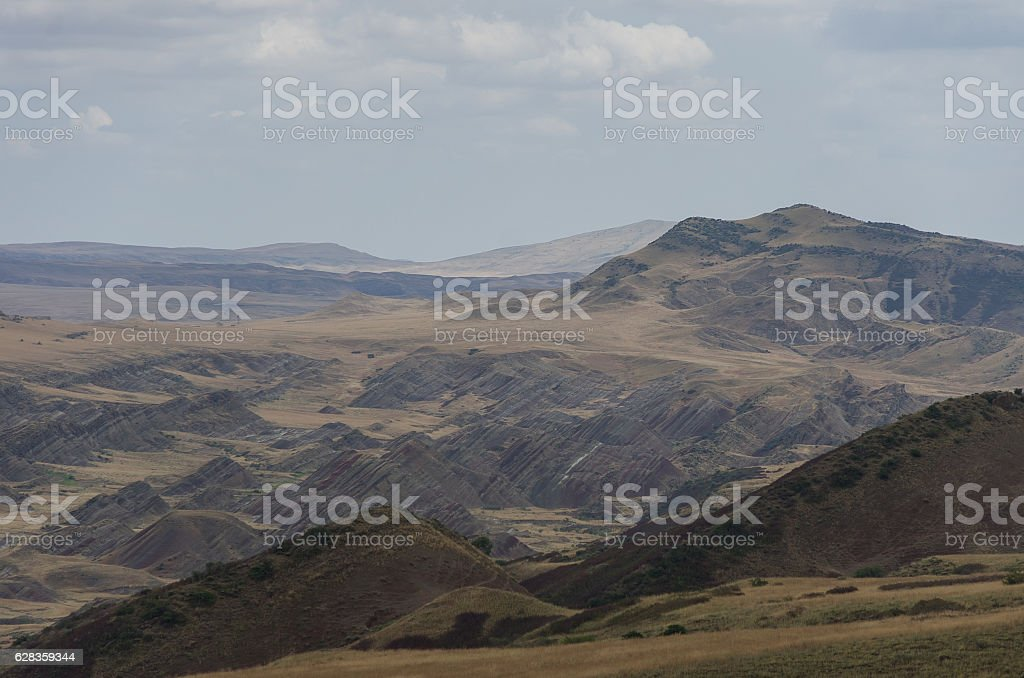 View on the semi-desert and steppe slopes of Gareja Mountain, stock photo