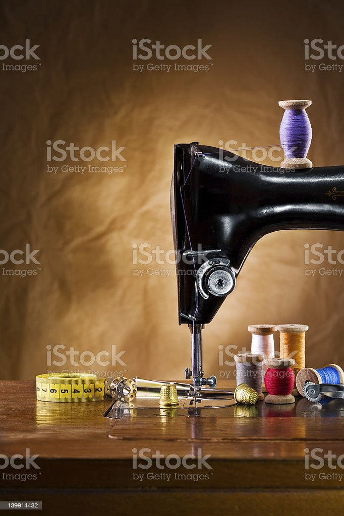view on the sewing accessories stock photo