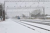View on the snowy railroad tracks on winter