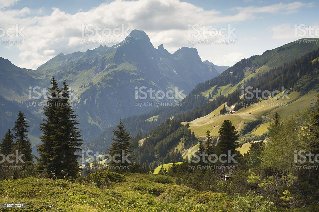 view on the spectucal alps, schroecken pass, vorarlberg royalty-free stock photo