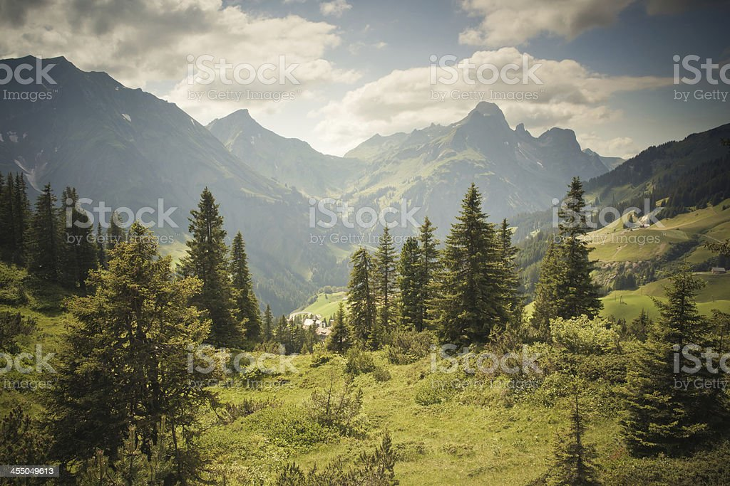 view on the spectucal alps, schroecken pass, vorarlberg stock photo