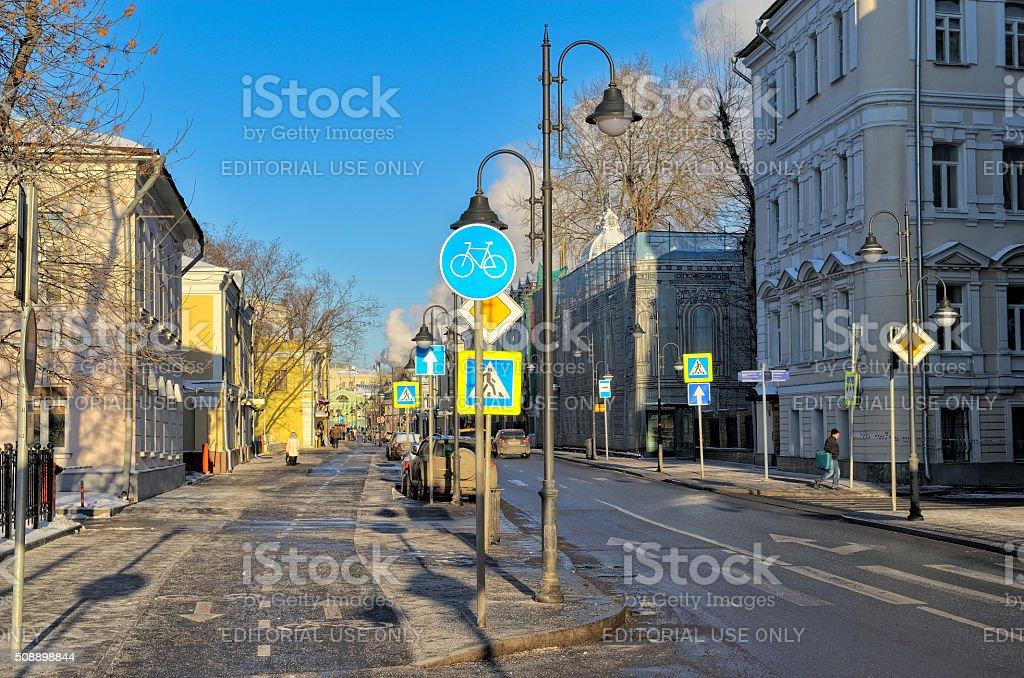 View on the street Pyatnitskaya, the oldest street in Moscow stock photo
