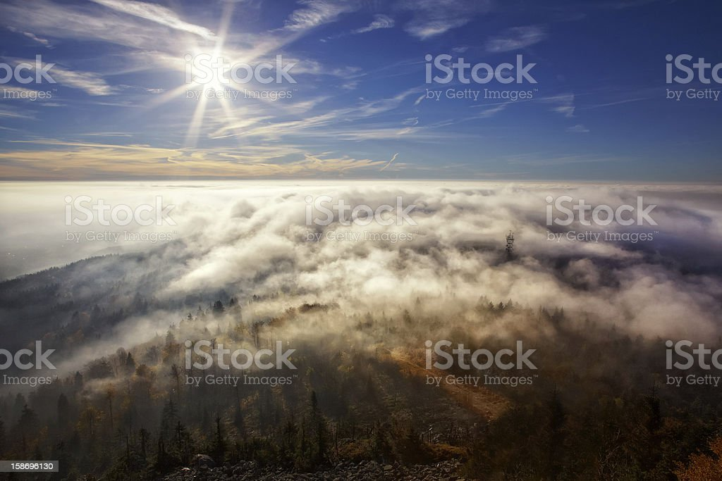 View on the sun over inversion from Jested royalty-free stock photo