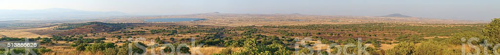 View on the territory of Syria from the Golan Heights stock photo