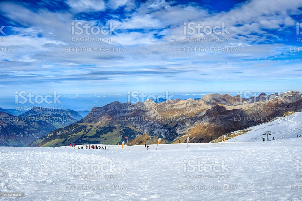 View on the top of Mt. Titlis in Switzerland stock photo