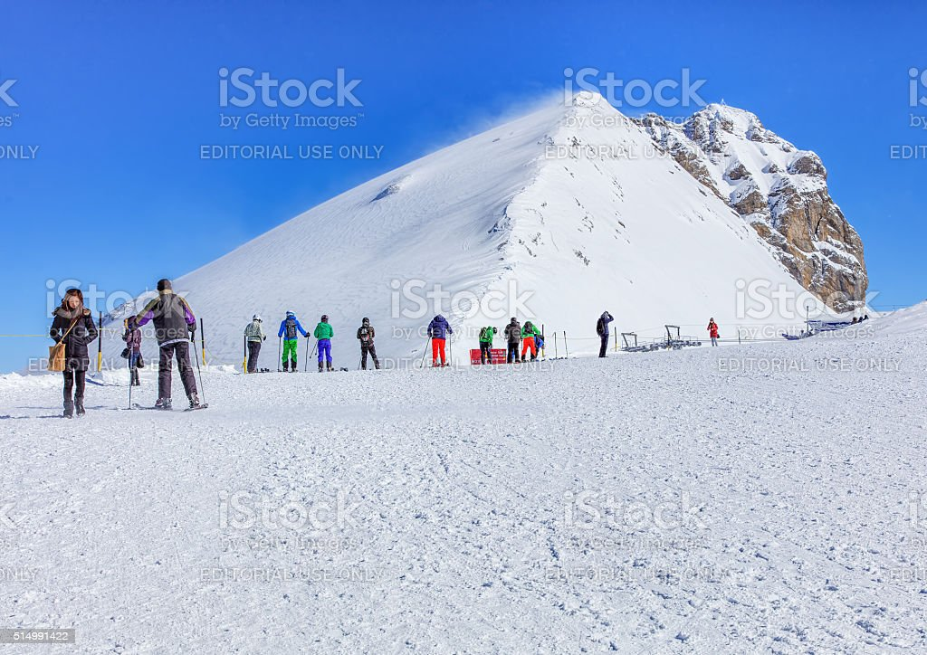 View on the top of Mt. Titlis in the Swiss Alps stock photo