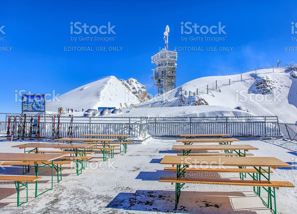 View on the top of Mt. Titlis on a windy day stock photo