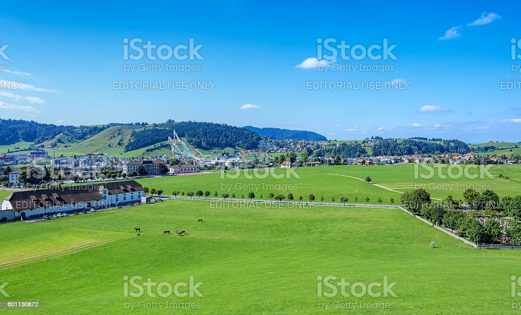 View on the town of Einsiedeln in Switzerland stock photo
