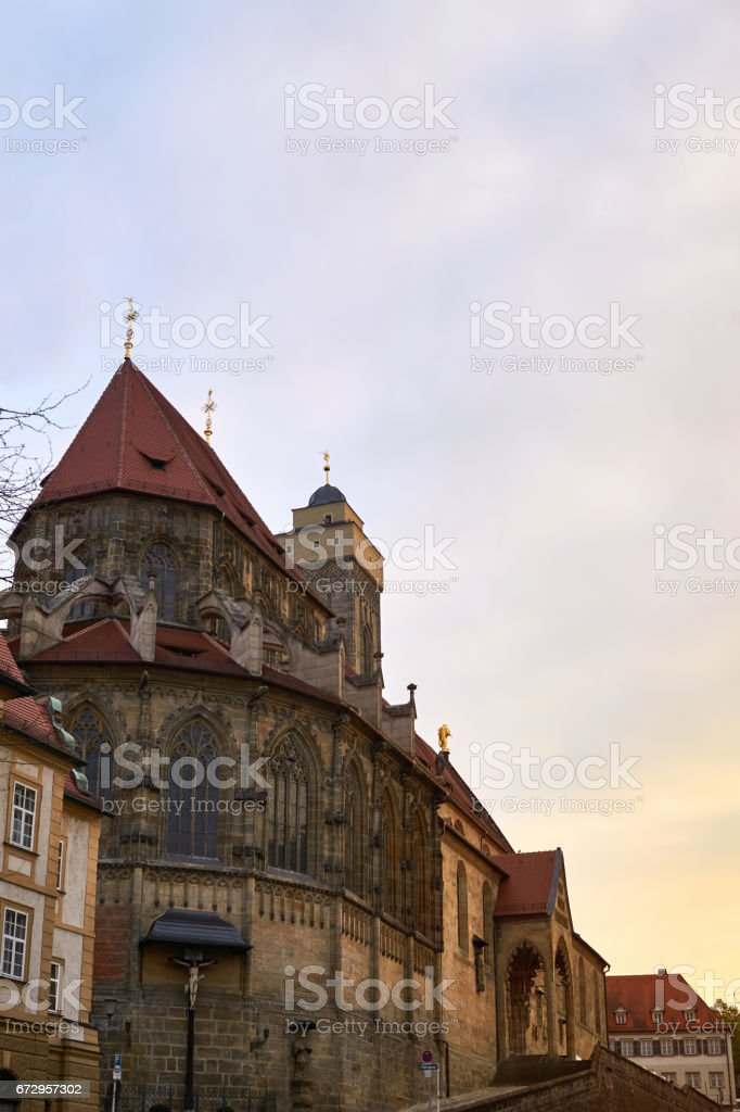 View on the obere Pfarrkirche in Bamberg, Bavaria, Germany, at sunset. The so called church Kirche Unsere Liebe Frau or Obere Pfarre. stock photo