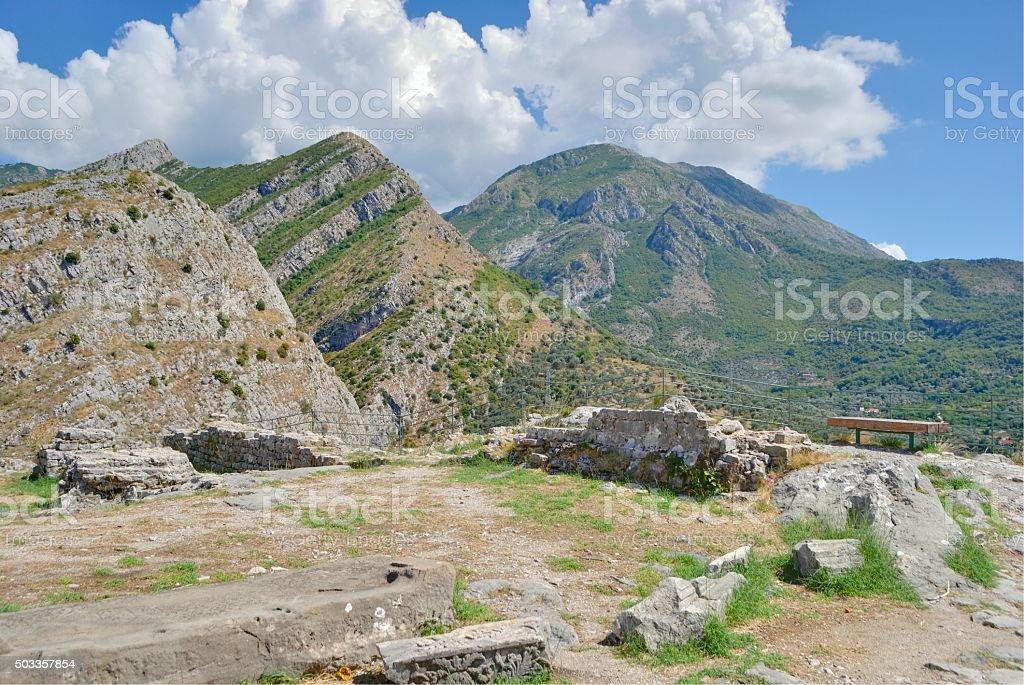 View on three different mountain peaks. stock photo